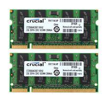 4GB Crucial 4 GB 2X 2GB 2Rx8 PC2-5300S DDR2 667Mhz Laptop Memory RAM CL5 200Pin
