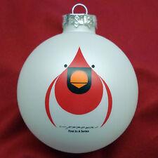 Charles/Charley Harper - Glass Christmas Ornament - FLYING CARDINAL - bird fun