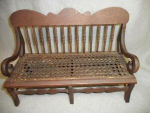 """ANTIQUE 19TH CENTURY CANE SEAT DOLL BENCH 13"""" BY 6"""" BY 9"""" GREAT PATINA ALL ORIG."""