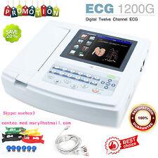 CONTEC 12 ch ECG EkG machine électrocardiographe usb LOGICIEL PC ECG1200G ce,HOT