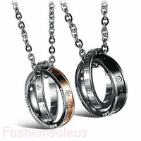 "Stainless Steel CZ Inlaid ""Enternal Love"" Pendant Men's Women's Necklace Chain"