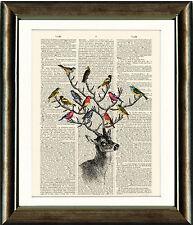 LIBRO Antico pagina ART PRINT-Cervo con uccelli COPERTA dizionario Wall Art