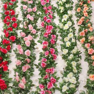 1pc Rose Artificial Silk Flowers Vine Hanging Flower Rattan Wedding Wall Decor