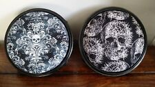 Pair of Gothic Victorian Footstools (Refurbished Black White Skulls Round Stool)