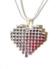 8-BIT HEART SILVER PLATED NECKLACE sterling chain gamer retro video game geek B3