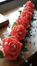Wedding rose (coral) buttonholes x 6 diamante, pearls white ribbon bow
