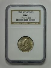 1928 Canada 25 Cents Coin NGC Graded MS 62, 1754392-013
