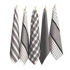 RANS Milan Stripe & Check Tea Towel Set Black 5pce