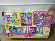 NEW POLLY POCKET MEGA MALL 10 STORES 3 FLOORS 60+ PIECES ELEVATOR 1 DOLL 2008