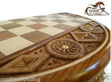 "SUPERB ""RUBY"" WOODEN CHESS SET - EXTREMELY BEAUTIFUL HAND CARVED ROUND CASSETTE!"