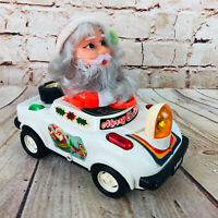 Vintage Merry Christmas Santa In Battery Powered Car /w Headlight