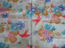 Pale Blue Pink Birds Sewing fabric Material light Satin Polyester #Sunday Market