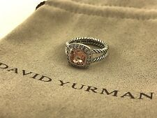 David Yurman Petite Albion Ring With Morganite and Diamonds Size 7