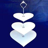 Three Tier Heart Cake Stand - White