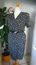 Vintage 80s Navy & Yellow Ditsy Floral  Pockets Midi Wrap Dress Size 18