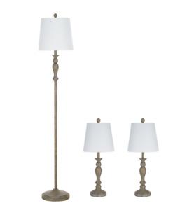 3 Piece Lamp Set Modern Farmhouse Design Floor Table Lamps Home Decor Rustic New