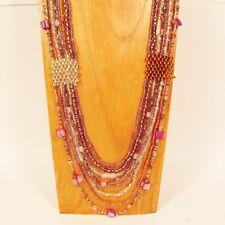 "36"" Multi Strand Handmade Lt Purple Gold Seed Bead Woven Statement Necklace"