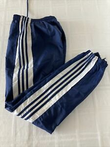 Adidas Youth Sz XL Blue Lined Nylon Athletic Track Pants W/Ankle Zip TS1