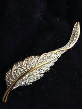 Swarovski Leaf Pin Brooch Signed - New