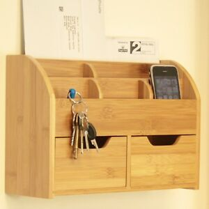 Bamboo Wall Mounted Letter Rack, Key Holder Post Mail Bill Storage