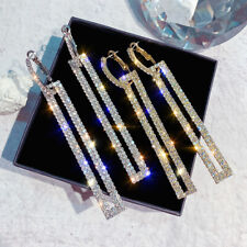 925 Sterling Silver Stud Long Geometric Rhinestone Drop Dangle Earrings H9