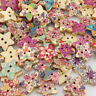 10/50/100Pcs Mix Star Flower Wooden Painting Sewing Buttons Scrapbooking WB38