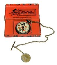 Boxed UK Version Ingersoll Mickey Mouse Pocket Watch  - Worldwide Shipping
