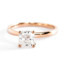 1.00Ct VS2 D Almohadón Ajuste Cómodo Anillo Solitario Diamante de Compromiso