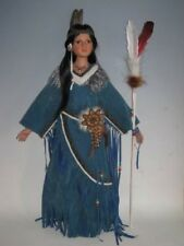 Indian Doll Porcelain American Native Standing Ornament Collectors Hand Crafted