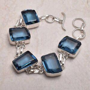 Blue Topaz Ethnic Handmade Bracelet Jewelry 28 Gms AB 72108