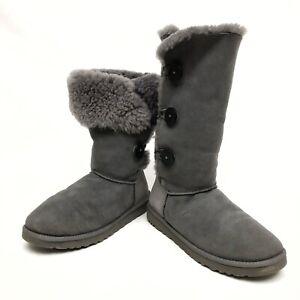 ✅❤️✅@ UGG Bailey Button Bling Triplet Grey Suède Boots Womens Sz 10 Eu41 Winter