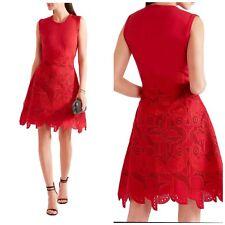 $2800 Antonio Berardi Burgundy Guipure Lace Knitted Sleeveless Dress Medium