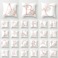 Letter Cushion Cover Alphabet Floral Pillow Case Bed Sofa Waist Throw Home Decor