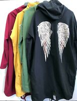 Womens Sequin Angel Wing Long Sleeve Oversized Hoody Open Front One Size 8-16