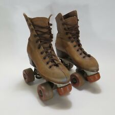 Vintage Hyde Chicago Tan Brown Leather Roller Skates Size 3 with Fo Mac Wheels