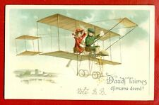 HAPPY BIRTHDAY CHILDREN AND AIRPLANE VINTAGE EMBOSSED POSTCARD 3620