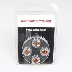 Genuine Porsche Valve Stem Cap Set (with Colored Crest)