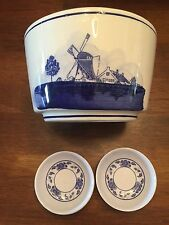 Tai-Hong Melamine Ware Small Dishes Plus Blue White Porelain Bowl Windmill