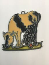"""Stained Glass Sun Catcher Black & White Cow With Baby Calf 3 1/2"""" L x 3 1/2"""" H"""