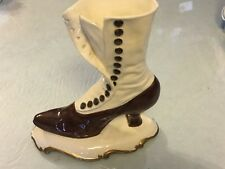 Vintage Atlantic Mold Ceramic Victorian Shoe Vase Brown White Gold Handpainted
