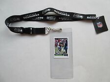 SEATTLE SEAHAWKS BLACK LANYARD WITH TICKET HOLDER & COLLECTIBLE PLAYER CARD