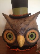 Bethany Lowe Halloween Owl w/Top Hat Container Lantern (light Included)--retired