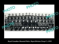 OLD LARGE HISTORIC PHOTO OF ROYAL CANADIAN MOUNTED POLICE, DEPOT DIVISION c1959