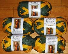 5 Skeins Red Heart Sashay Boutique Team Spirit Ruffle Yarn Gold & Green Packers