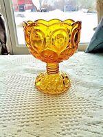"L.E Smith Moon & Stars Glassware Amber Candy Dish On Pedestal 6"" T x 4.5"" W"