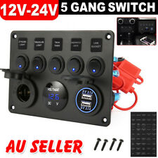 12V Switch Panel 5 Gang Car Boat ON-OFF Toggle Dual USB Socket Charger Voltmeter