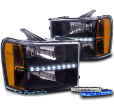 FOR 07-13 GMC SIERRA 1500 2500 3500 BLACK LED BAR HEADLIGHT LAMP W/BLUE DRL LED