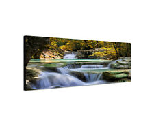 120x40cm Wandbild Gebirgsfluss Wasserfall Erawan Leinwand Panorama Sinus Art