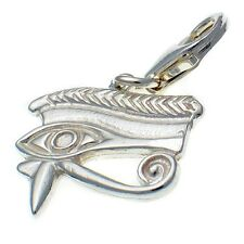Eye of Horus Ancient Egypt Clip Charm. British Sterling 925 Silver.