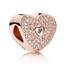 Fashion Rose Gold Plated Love Shape Charm Bead Fit European Bracelet